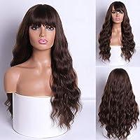 YY-CX 女性のアフリカ系アメリカ人のための前髪レッドブロンド黒耐熱合成かつらとMERISI HAIRロングウォーターウェーブ女性ウィッグ (Color : 9146 8, Stretched Length : 26inches)