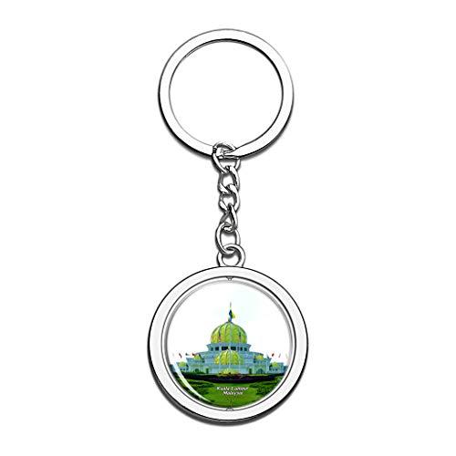 Hqiyaols Keychain Malasia Antiguo Palacio Real Kuala Lumpur Cristal Girar Acero Inoxidable Llavero Viajes Ciudad Recuerdo Llavero