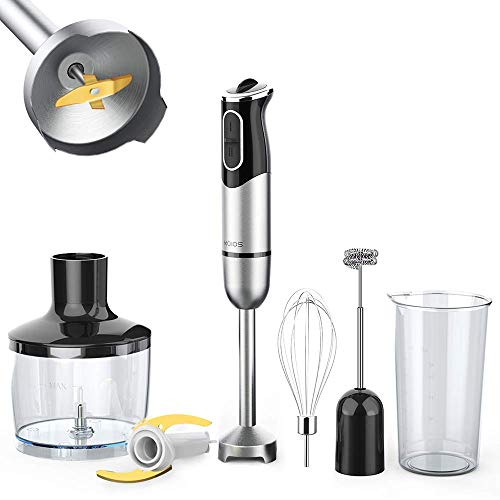 KOIOS 800W Immersion Hand Blender, Multifunctional 5-in-1 Low Noise Stick Mixer, 9-Speed, Stainless Steel, Titanium Plated Blade, 600ml Mixing Beaker, 800ml Chopper, Whisk Attachment, and Milk Frother