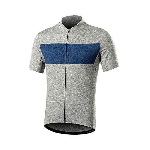 Maillot De Cyclisme à Manches Courtes pour Hommes Pro Quick Dry MTB Bicycle Shirt Mountain Bike Downhill Clothing with Pocket(Size:XXL,Color:Bleu)