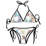 Conjuntos de Bikini para Mujer Impresos Negro Animal del Alfabeto, Traje de baño de la Playa del Traje de baño del triángulo