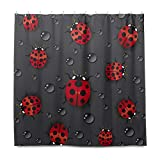 TropicalLife HaJie Badezimmer Duschvorhang Wassertropfen Marienkäfer Tierdruck 183 x 183 cm Badvorhang mit Haken Wasserdicht Stoff Vorhang