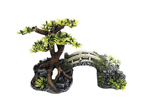 Nobby 28621 Aqua Ornaments BRÜCKE MIT Bonsai mit Pflanzen 20, 3 x 9, 0 x 14, 0 cm