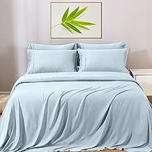GOKOTTA Sábanas de bambú tamaño Queen – Sábanas de refrigeración, cómodas sábanas de 4 piezas, bolsillos profundos de 16 pulgadas, transpirable y suave, azul claro