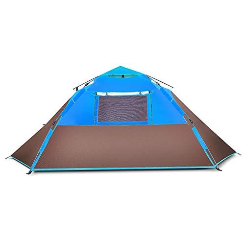 Lian tent in de open lucht voor 3 tot 4 personen, volledig automatisch dik, regenbestendig, buitentent voor camping, volledig gesloten tent met 5 ramen, driedimensionale ventilatie.