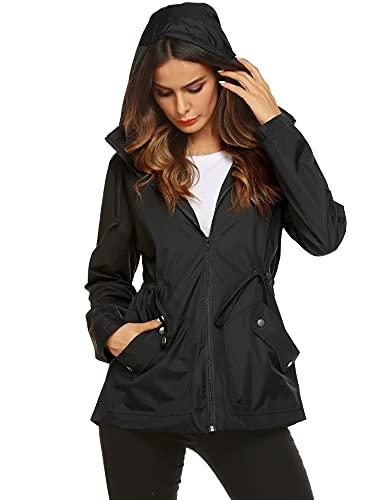 Raincoat,Women's Water Proof Stylish Rain Jacket Drawstring for Spring(Black,XL)