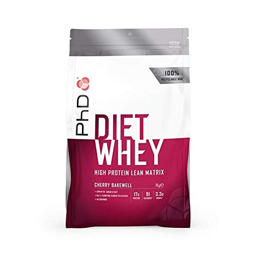 PhD Nutrition Diet Whey Protein Powder, 1 kg, Cherry Bakewell