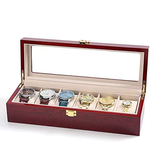 Caja de Reloj de Madera Maciza Caja de Reloj para Hombres 5 Ranuras Caja de Reloj de Almacenamiento de Madera Organizador con Pantalla Superior Exquisita y Duradera