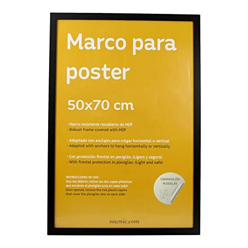 Nacnic Marco Negro tamaño 50x70cm. Marco Negro para Fotos, Posters, Diplomas, …