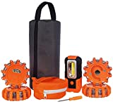 Magnetic Emergency LED Road Flares Warning Kit | Car Roadside Safety Lights | Up to 1.5 Mile Flashing View | 4 Red Light Beacon Disk & 1 Working Flashlight | For Vehicle, Boat, Truck, Flood & More