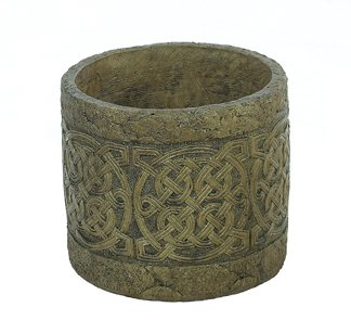 Solid Rock Stoneworks Large Celtic Planter 12in Tall x 14in Diameter Sage Color