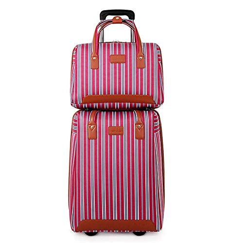 Fashion backpack Classic Trolley Suitcase Trolley Luggage Ms. Case Leisure Colored Stripes Suitcase 20 Inches Trolley case Lightweight Hand Luggage Suitable for outdoor, camping, office, school