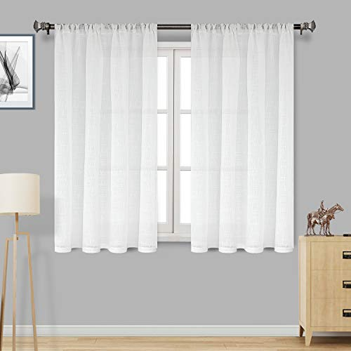 DWCN Faux Linen Textured White Sheer Curtains - Rod Pocket Semi Voile Sheer Bedroom and Living Room Window Curtain Panels, Set of 2, 52 x 45 Inch Long