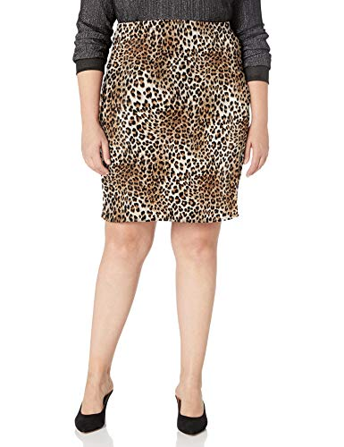 Star Vixen Women's Plus-Size Knee Length Classic Stretch Pencil Skirt, Leopard Print, 2X
