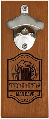 Engraved Wooden Wall Mounted Bottle Opener with Magnetic Cap Catcher Gift for Him Man Cave Husband product image