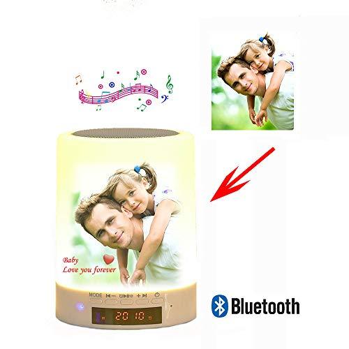 GDCB Personalisierte Foto Nachtlicht Tischlampe Benutzerdefinierte Bluetooth Lautsprecher Musik Player Weihnachten Hochzeitstag Geschenk für Kind Familie Paar