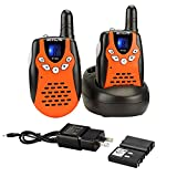 Retevis RT-602 Rechargeable Walkie Talkies for Kids,Toys with Charger Adapter 22 CH Flashlight,6-12 Years Old Boys Girls,Outdoor Indoor Games(2 Pack,Orange)