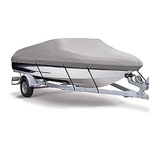 Funda para Barco Gris 420D Pesado Paño Oxford Impermeable Anti-UV Grado Oceánico Durable y Resistente al Desgarro Varios Tamaños de Fundas para Botes de Esquí de Pesca,1010 * 590CM