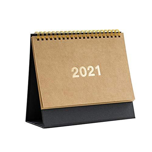 Easy-topbuy Tischkalender 2021 Standing Flip Monatskalender 360 ° -Seite, Die Den Akademischen Kalender Der Staffelei Einschaltet Ganzjahreskalender 2021 Retro-Tischkalender