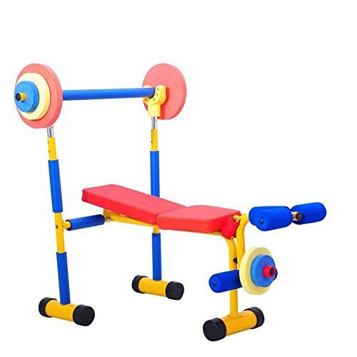 RIYIFER Spaß- und Fitness-Trainingsgeräte für Kinder, Hantelbank mit Langhantel, Multifunktionsbank, verstellbare Sitzbank, Bankdrücken,Children's Weightlifting Bed
