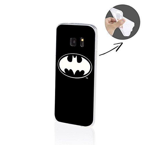 FINOO  | Samsung Galaxy S7 Edge Weiche Flexible lizensierte Silikon-Handy-Hülle | Transparente TPU Cover Schale mit Batman Motiv | Tasche Case mit Ultra Slim Rundum-Schutz | Batman Logo Black Middle
