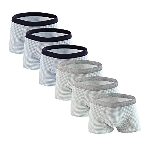 Chiyin Pack de 6 calzoncillos tipo bóxer para hombre, de modal, delgados, ligeros, retro, transpirables, de pierna larga Ab*3 XXXL