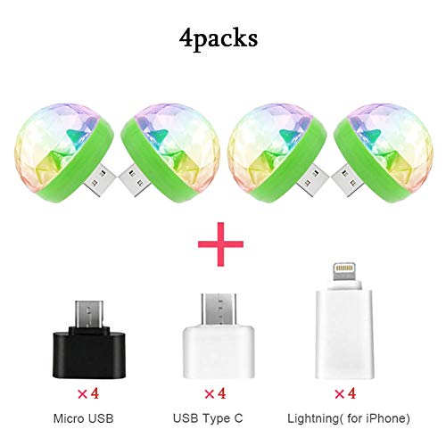 USB Mini Disco Party Light 4packs, Voice Activated, Car Atmosphere Light, Magic Strobe Light for Christmas Party, Swimming Pool, Club, Church, Karaoke, Wedding