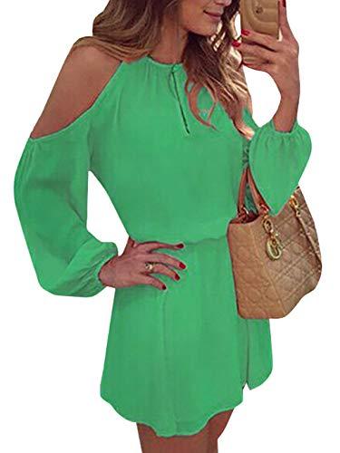 YOINS Sommerkleid Damen Kurz Schulterfrei Kleid Elegante Kleider für Damen Strandmode Langarm Neckholder A Linie Grün EU40-42(Kleiner als Reguläre Größe)