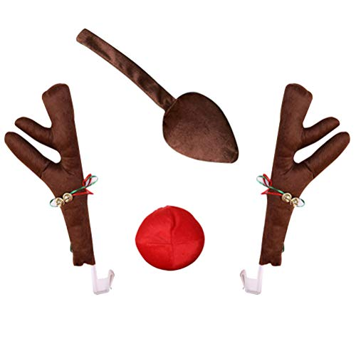 Mgsiko Red plush nose and brown reindeer antlers for the radiator grille and the side windows of your car, plush Rudolf reindeer antler costume for cars, Christmas car accessories