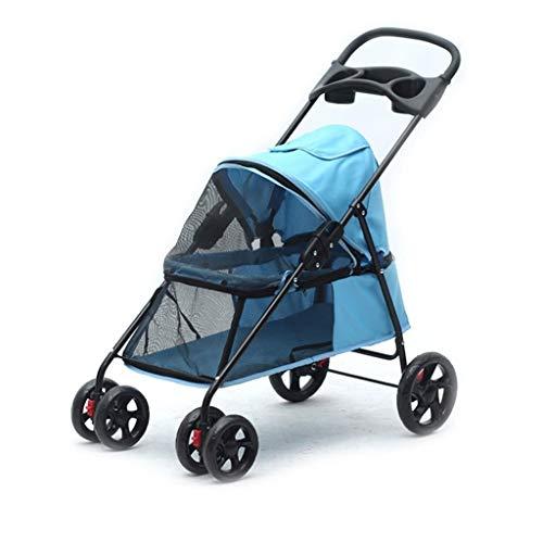 Jlxl Passeggino per Cani Carrello, Pet Roadster, Passeggino per Animali Domestici Fino a 15 kg, Ruote Grandi, Pieghevole (Color : B, Size : 75x42x93cm)