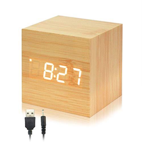 Despertador Reloj para Habitación, Minimalista Alarma Digital LED Indicador de Timepo Moderno Diseñado de Vetas Madera Mini Cubo Viene con Cable USB para Niños, Duermientes, Jóvenes (Madera Original)