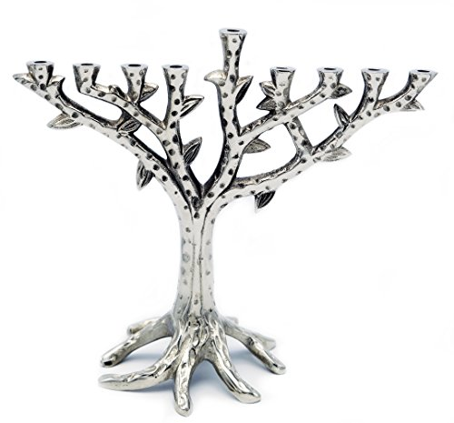 Menorah Tree of Life Contemporary Textured Chrome Design for Chanukah