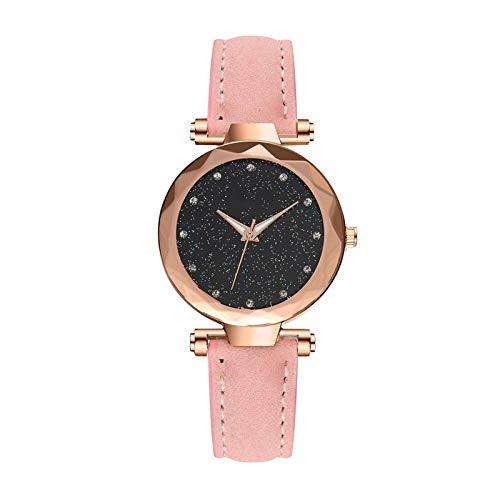 Women Starry Sky Relojes, Mujeres Moda Reloj de pulsera de cuarzo con banda de acero inoxidable y cuero de la PU, elegantes mujeres Starry SkyWatches Ladies Business Wristwatch regalos Para ella