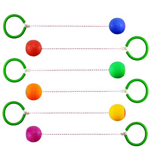 Neworkg GSports Skip Ball Set: Six Jumping Toy Assorted Colors Swing Balls - Great Kids Fitness Game for Boys and Girls Swing Set,Skip Ball Ankle,Swing Balls,Skip Ball