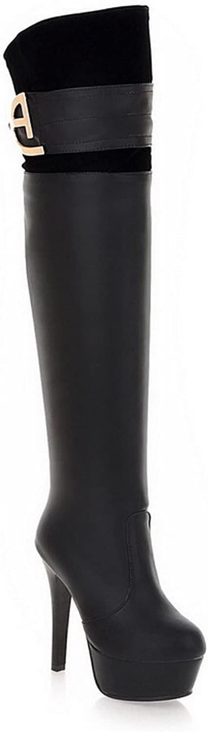 WeiPoot Women's Round Closed Toe High-Heels PU Solid Above-The-Knee Boots, Black, 34