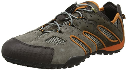 Geox Herren Uomo Snake J Sneaker, Grau (Taupe/Lt Orange), 43 EU