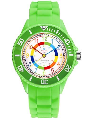 Alienwork Kids Lernuhr Kinderuhr Jungen Mädchen Grün Silikon-Armband Mehrfarbig Kinder-Uhr Wasserdicht 5 ATM Zeit Lernen