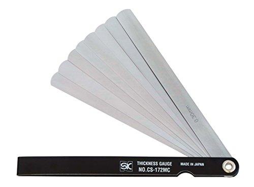 新潟精機 SK シクネスゲージ(すきまゲージ) カラースリーブタイプ 黒 9枚組 150mm CS-172MC 0.04-0.30mm