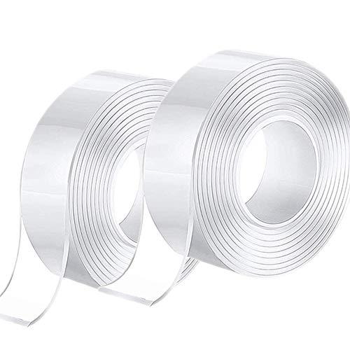 6M Cinta de doble cara Lavable, Reutilizable Nano Tape, Cinta Adhesiva Doble Cara Extra Fuerte, Transparente Traceless Grip Tape para Hogar, Dormitorio y Oficina