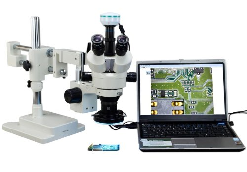 OMAX 2X-90X Digital Zoom Trinocular Dual-Bar Boom Stand Stereo Microscope with 2.0MP USB Camera and 144 LED Ring Light with Light Control Box