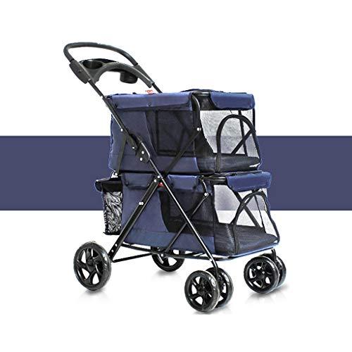 M-YN Hunderollstuhl, Haustier Reisewagen, Hund Katze Einfach Folding Doppel Pet Trolley Dogs Big Raum Carts Vier Runden von Outdoor-Reiseangebot (79 * 52 * 105CM) (Color : Blue)