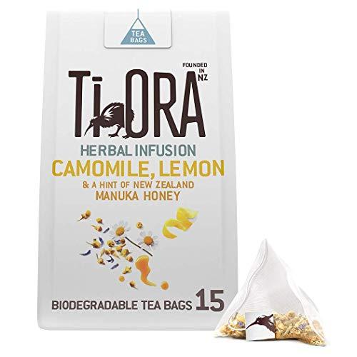Ti Ora Tee, Kamillentee mit Zitronenmelisse und Manuka Honig, 4er Pack, 15 Pyramiden - Teebeutel