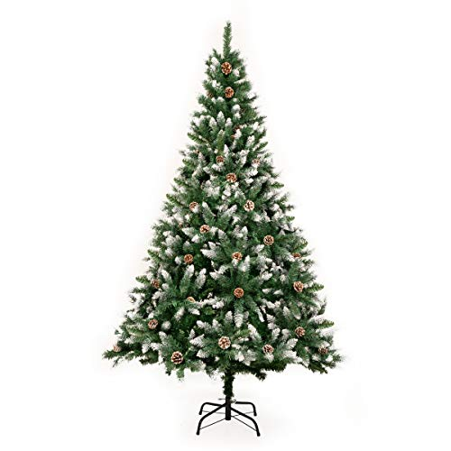GIGALUMI 1.8m/6ft Fold-Out Artificial Christmas Tree Retractable Xmas Tree with snow and real pine cones Indoor Decoration Pine Tree