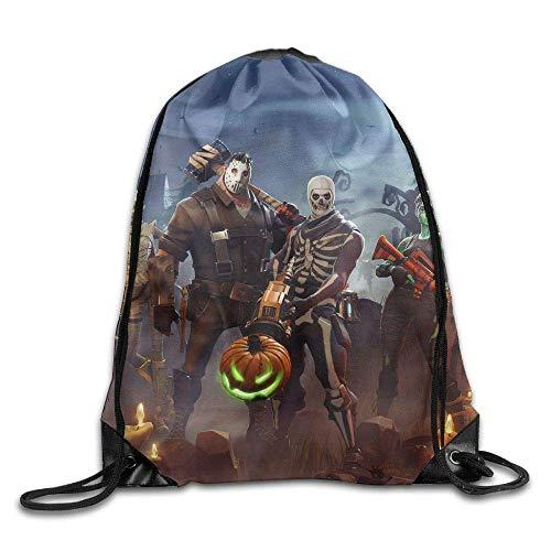 Chawuux Men Women for-tnite Skull Troo-per Gym Drawstring Backpacks Shoulder Bags Workout Sack Backpack for Home Travel Exercise