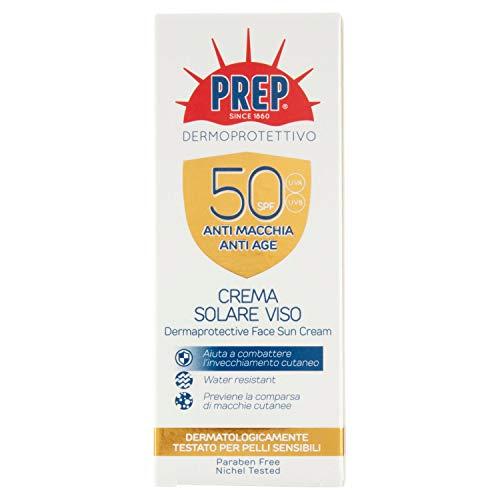 PREP, Crema Solare Viso SPF50 +, Protezione Solare, Protezione Raggi UVA/UVB, Senza Parabeni, Formato 50 ml