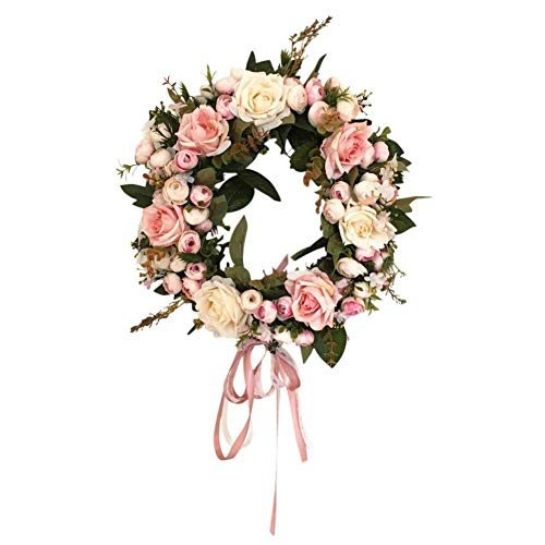 ZJHCC Vintage Art Simulation Rose Flowers Wreath Heart-Shaped Garland Handmade Floral Artificial Simulation Peony Flowers Garland Wreath for Home Wedding Decoration