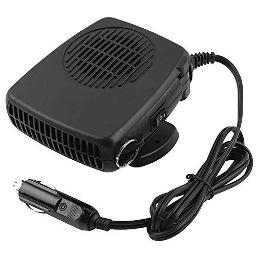 WANYIG Calefactor para Coche 12V Portátil, Calefactor con Ventilador 150W Calentador con Ventilador de Frío / Calo para Coche Con 360 ° Ajustable y Cable 1.5M