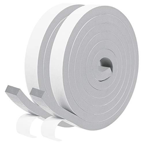 Schaumstoff Selbstklebend 20mm(B) x10mm(D) Dichtungsband für Garage-Anti-Kollision Türdichtung, Gummidichtung für Kollision Siegel Schalldämmung Gesamtlänge 4m (2 Rollen je 2m lang) Grau