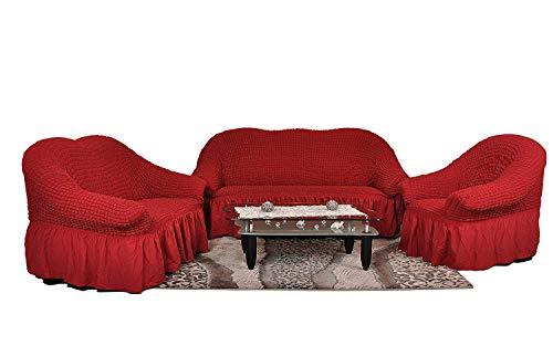 My Palace 3-er + 2-er + 1-er Sofabezug Sofahusse Sofaüberwurf 3 er Couchbezug Sofaschoner 3 teilig Couchschoner. Schutzbezug. Sofa Bezug Set Farbe: weinrot/Bordo/rot