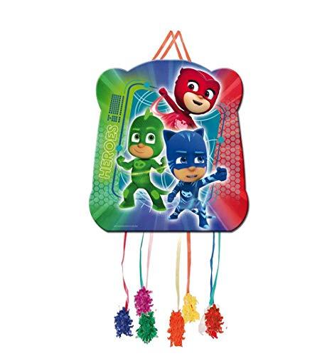 CAPRILO Set de 2 Piñatas Infantiles Decorativas para Cumpleaños PJ Masks Basic 35 x 19 cm. Juguetes y Regalos Fiestas de Cumpleaños, Bodas, Bautizos, Comuniones y Eventos. Decoración Hogar.
